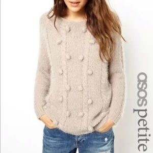 ASOS Petite Fluffy Sweater With Poms US0